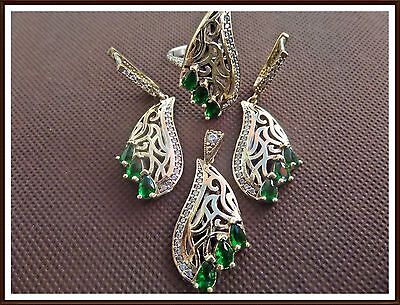 Ladys Turkish Made Jewelry 925 Silver /  Sapphire - Emerald Stones Ring Size 9