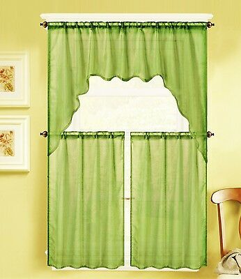 3Pc Voile Sheer Kitchen Window Curtain 2 Tiers And 1 Swag Valance K66 Lime