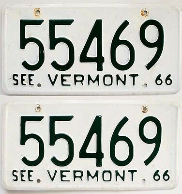 Vermont 1966 License Plate PAIR Old Muscle Car Tag Set Vintage Man Cave Auto