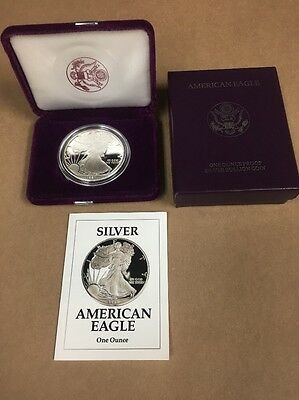 1991-S Silver American Eagle Proof $1 with Box and COA