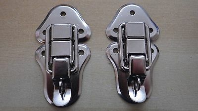 2 x CHROME FINISH TOGGLE CASE CATCH CLIP CATCHES BOX LOCKABLE PADLOCK LOOP 95mm