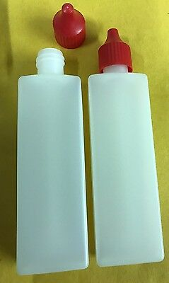 2 x 50ml Empty Plastic Liquid Dropper Bottles THIN ENOUGH TO POST OUT AS LETTER!