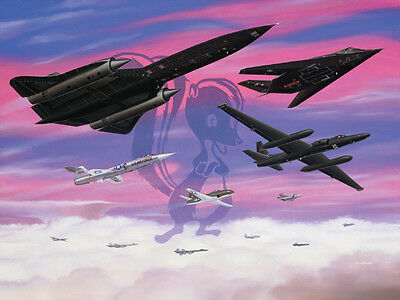"""Lockheed Legends"" [SR-71 U-2 F-117] signed 5 Lockheed Test Pilots Mike Machat"