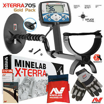 "Minelab X-Terra 705 Gold Pack Metal Detector with 5x10"" Coil , Gloves & Pouch."