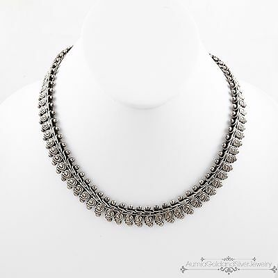 Antique Vintage Deco Sterling Silver Taxco Mexican Repousse Articulated Necklace