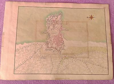 Mapa Dibuxat I Color Original De Palamos, Anonim, 1695, Extremadement Rar