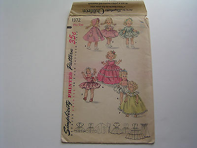 """Vintage 50s 8"""" Doll Clothes Sewing Pattern Simplicty 1372 Ginny Muffie Alexander"""