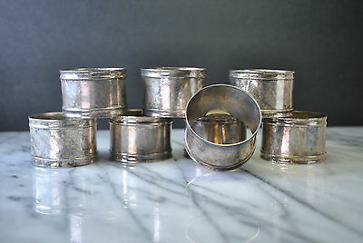 8 Vintage Silver Plate Napkin Rings in Classic Rim Style