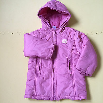 Girl pink winter quilted coat / jacket , size 1 1/2 - 2 years