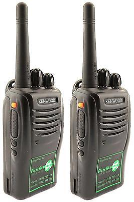 KENWOOD TK3360 UHF 4 WATT WALKIE-TALKIE TWO WAY RADIOS & G SHAPE EARPIECES x 2