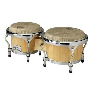 REMO Crown Percussion Tunable Bongo Drums, 7 & 8.5 Inch Head, Toon Hardwood