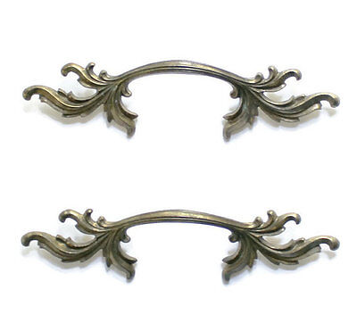 2 Large French Provincial Drawer Handles, Brass Handles, Cottage Chic Handles