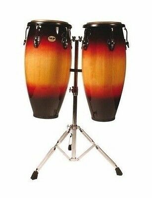MANO PERCUSSION Double Conga Set with Stand, 10 & 11 Inch, Sunburst