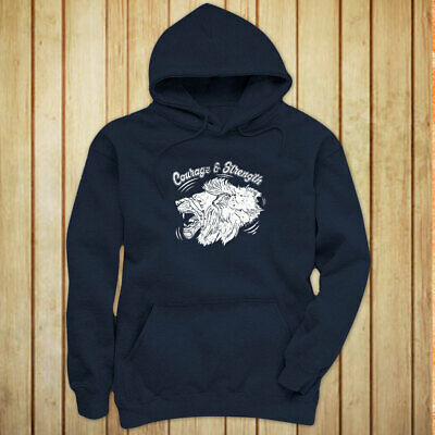 COURAGE AND STRENGTH LION ANIMAL VINTAGE FIERCE Womens Navy Hoodie
