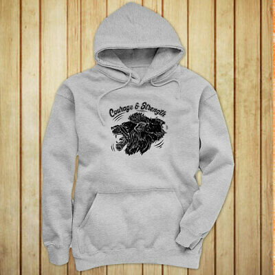 COURAGE AND STRENGTH LION ANIMAL VINTAGE FIERCE Womens Gray Hoodie