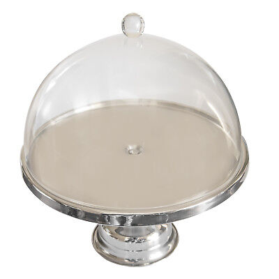 Cake Display Stand, 330 x 175mm, Stainless Steel, Acrylic Dome Shaped Cover