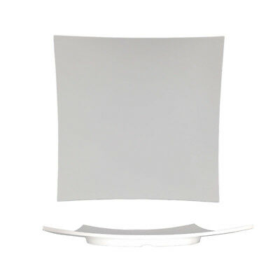 3x Melamine White Platter Plate Square Curved 350mm Ryner Plastic Catering Tray