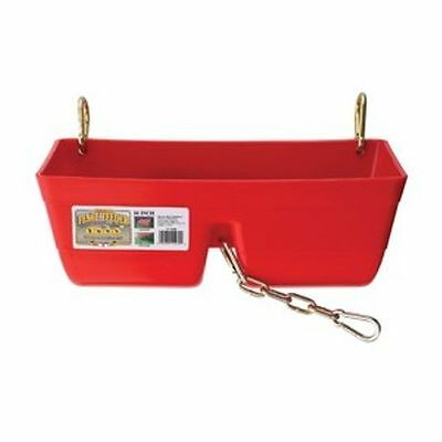 """Little Giant Fence Feeder 16"""" w/ Chain Divider Horse Sheep Goats Calves Red"""