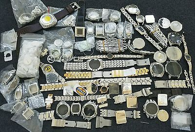 5 Pounds of Mixed Watch Parts Bands Cases Backs Dials Fossil Michele DKNY Relic