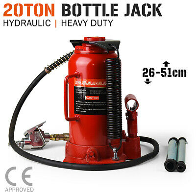 20 Ton Air & Manual Hydraulic BOTTLE JACK Car Truck SUV 4WD Caravan Tractor
