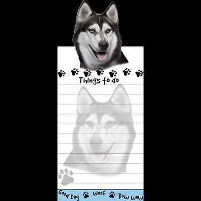 Siberian Husky Dog Magnetic Grocery List Pad Sticky Notes Magnet Refrigerater