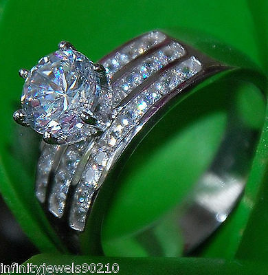 Real 14K solid White Gold round Brilliant cut Solitaire Engagement ring
