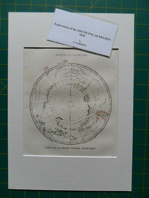 Map 1830, South Polar ANTARCTICA, showing voyages of Cook etc by TARDIEU