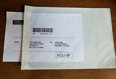 100 7x10 Clear Shipping Address Pouches/Sleeves/Packing List -USPS®/Fed Ex®/UPS®