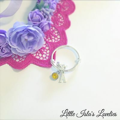 Baby Child Charm Bell Bangle Bracelet 0-8yrs+ ❤️ Birthstone Letter Initial (A-Z)
