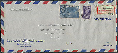 Suriname 1946 registered airmail cover