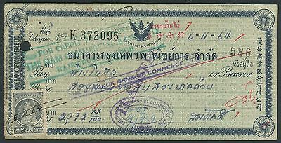 Thailand 1964 check with revenue stamp