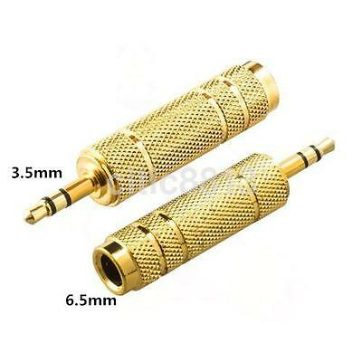 Stereo 6.5mm Female to 3.5mm Male Gold Audio Adapter Headphone Jack Converter CA