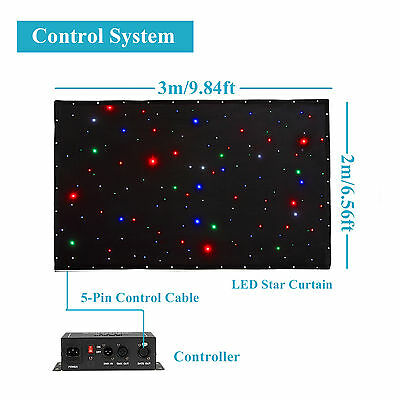 6.5 x 10ft RGBE LED Stage Curtain Combination Effects Sound Control DMX 512