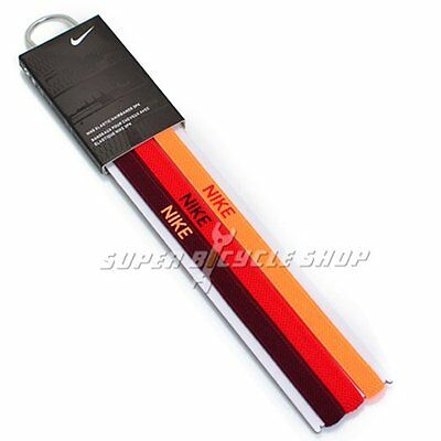 NIKE Elastic Flexible Sports Hairbands 3 PK , Orange x Red x Burgundy