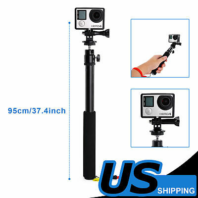 For GoPro 2 3+ 4 Handheld Remote Pole Selfie Stick Extendable Telescopic Monopod