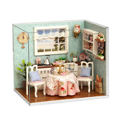 DIY Wooden Dollhouse Handcraft Miniature Box Kit Cover LED Light - Happy Kitchen