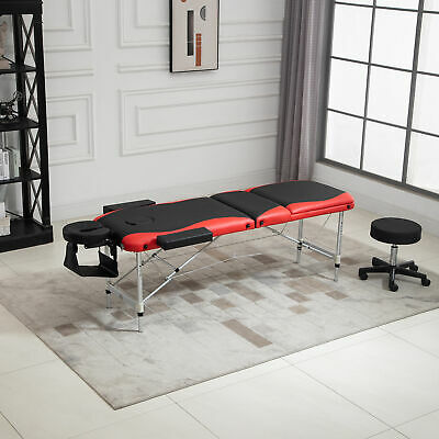 HOMCOM 3 Section Folding Lightweight Portable Massage Table Couch Bed