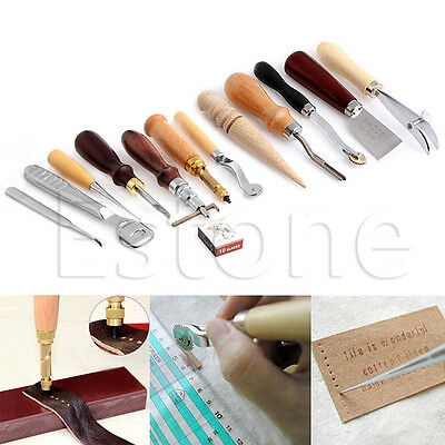 Leather Craft Punch Tools Kit Hand Sewing Stitching Carving Work Saddle 24 Pcs