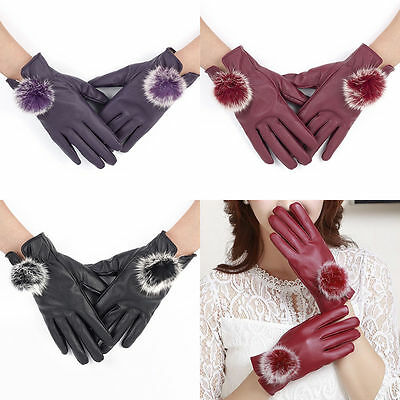 Ladies Womens Premium Soft Black Leather Gloves Fur Lined Winter Driving Warm