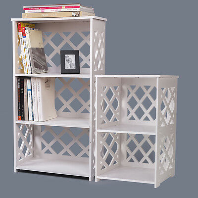 2 / 3 Tier White Book shelf Bookcase Storege Wooden Shelves Shelving Unit Stand