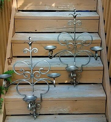 Candelabra Sconce PAIR with French Fleur de lis finial