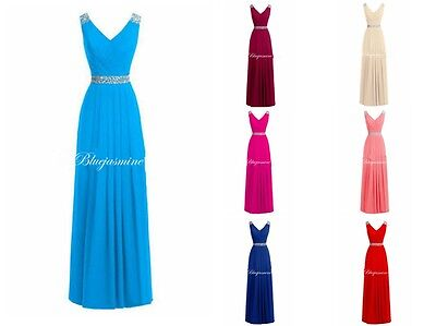 New Long Chiffon Prom Dress Bridesmaid Party Evening Formal Gown Stock Size 6-18