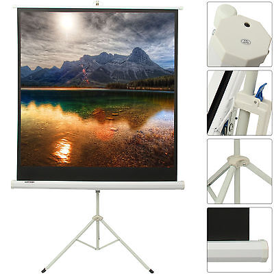 Portable 125x125cm HD Tripod Projection Screen Matte Pull Down Projector Cinema