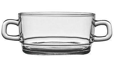 Set of 12 Glass Soup Cereal Jelly Pudding Bowls with handles 350 ml Clear Glass