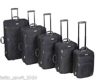 DUNLOP Set 5 Valigie Trolley semi rigido nero 22,34,52,78,110 Litri sd