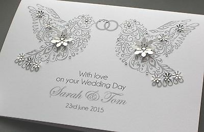 LARGE A5 Handmade Personalised DOVES Congratulations Wedding Card