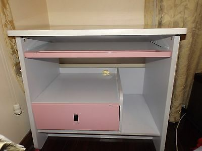 White and Pink wood study desk