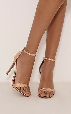 PrettyLittleThing Womens Ladies Clover Rose Gold Strap Heel Sandals Summer Shoes