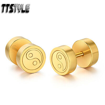 TTstyle 8mm Gold Surgical Steel Ying&Yang Fake Ear Plug Earrings NEW