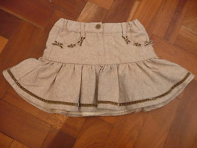 Elsy Baby Girls Beige Layered Wool Skirt Age 6 Years